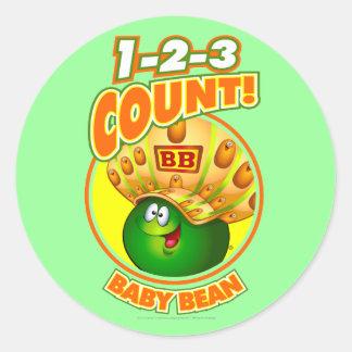 1-2-3 haba del bebé de la cuenta pegatina redonda