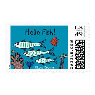 1, 2, 3 pescados con los pequeños pescados y coral sello postal