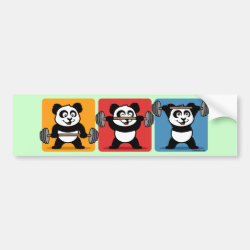 Bumper Sticker with 1-2-3 Weightlifting Panda design