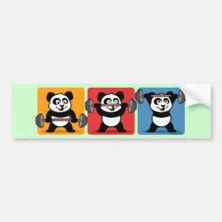 1-2-3 Weightlifting Panda Car Bumper Sticker