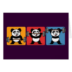 Greeting Card with 1-2-3 Weightlifting Panda design