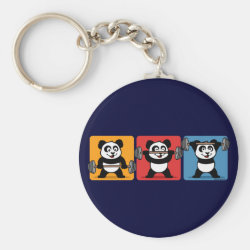 Basic Button Keychain with 1-2-3 Weightlifting Panda design