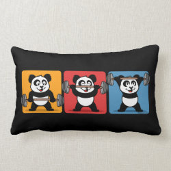 Throw Pillow Lumbar 13' x 21' with 1-2-3 Weightlifting Panda design