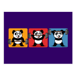 Postcard with 1-2-3 Weightlifting Panda design