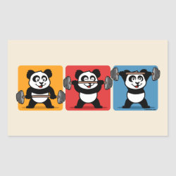 Rectangle Sticker with 1-2-3 Weightlifting Panda design