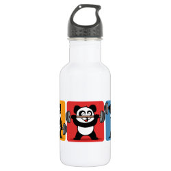 Water Bottle (24 oz) with 1-2-3 Weightlifting Panda design
