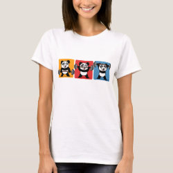 Women's Basic T-Shirt with 1-2-3 Weightlifting Panda design