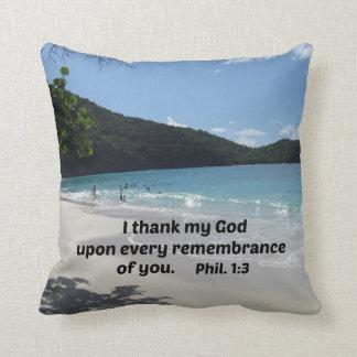 1:3 de los filipenses agradezco a mi dios sobre cojín