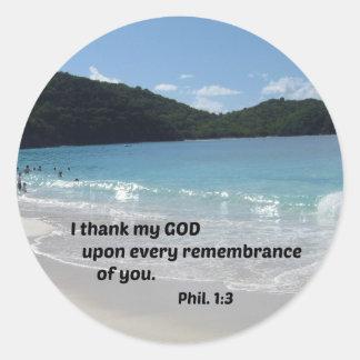1:3 de los filipenses agradezco a mi dios sobre pegatina redonda