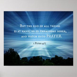 1 4:7 de Peter pero el final de todas las cosas es Póster