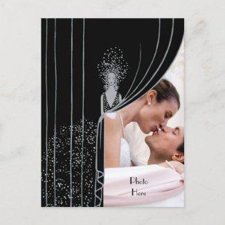 $1.50 PHOTO Curtain Fashion Plate Vintage Wedding postcard