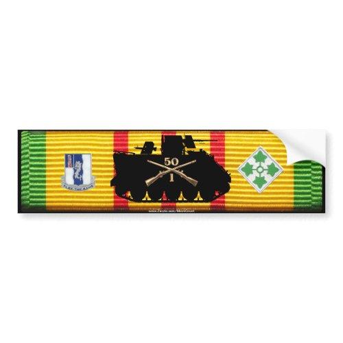 1/50th Inf 4th Division Track & Insignia VSM Bumpe bumpersticker