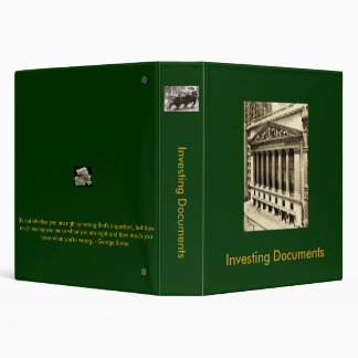 """1.5"""" 3 Ring Binder for Investing Documents"""