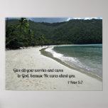 1 5:7 de Peter da todas sus preocupaciones y cuida Posters
