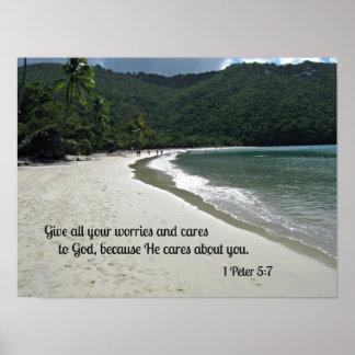 1 5:7 de Peter da todas sus preocupaciones y cuida Póster