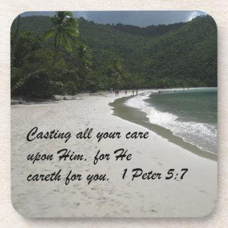 1 5:7 de Peter que echa todo su cuidado sobre él… Posavaso