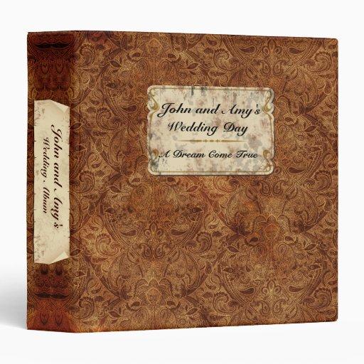 """1,5"""" álbum del boda del vintage de Borgoña"""
