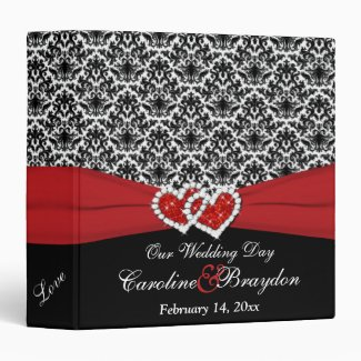 """1.5"""" Black White Red Damask, Joined Hearts BINDER"""