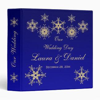 "1.5"" Blue, Gold Glitter Snowflakes Wedding BINDER"
