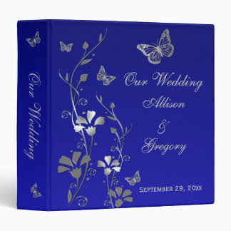 "1.5"" Blue, Silver Floral, Butterfly Wedding Binder"