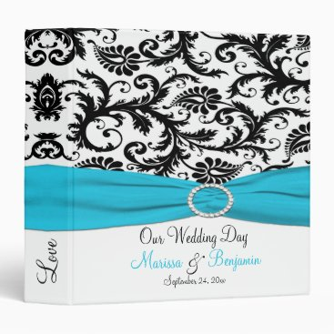 "1.5"" Blue, White, and Black Damask Wedding Binder"