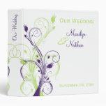 """1,5"""" carpeta floral blanca verde púrpura del boda"""