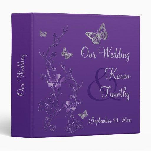 """1,5"""" carpeta floral de plata púrpura del boda de l"""