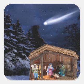 """""""~ 1,5"""" de la escena del cometa del pesebre"""" pegatina cuadrada"""