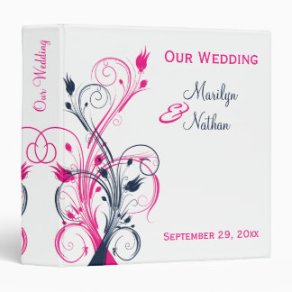 """1.5"""" Fuchsia, Navy, White Floral Wedding Binder"""