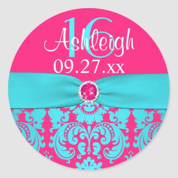 "1.5"" Hot Pink, Turquoise Damask Sweet 16 Sticker"