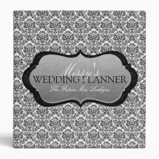 1.5 Inch Black & White Damask Wedding Planner 3 Ring Binder