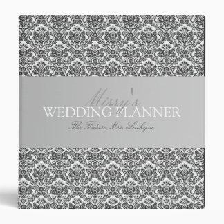 1.5 Inch Black & White Damask Wedding Planner Binder