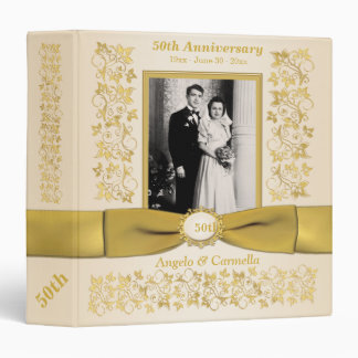 """1.5"""" Ivory 50th Wedding Anniversary Photo Binder"""