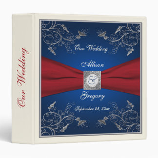 "1.5"" Navy, Red, and Ivory Floral Wedding Binder"
