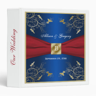 "1.5"" Navy, Red, and White Floral Wedding Binder"