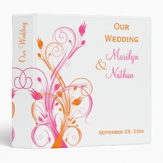"""1.5"""" Orange Pink White Floral Wedding Binder"""