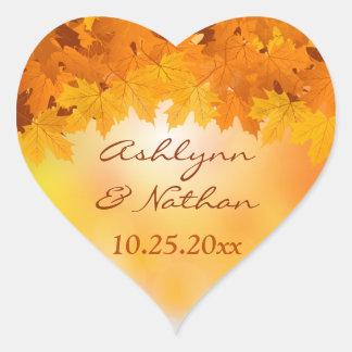 """1,5"""" pegatina del boda del esplendor del otoño de"""