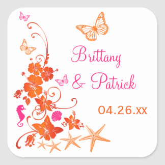 "1.5"" Pink, Orange, White Tropical Wedding Sticker"