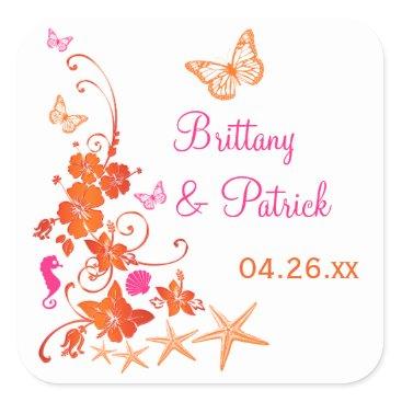 "Beach Themed 1.5"" Pink, Orange, White Tropical Wedding Sticker"
