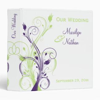 """1.5"""" Purple Green White Floral Wedding Binder"""