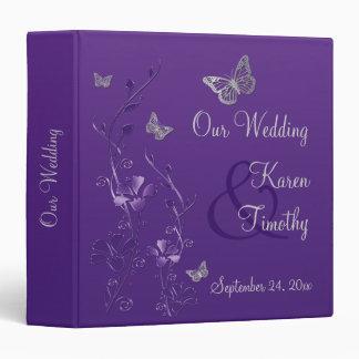 "1.5"" Purple Silver Floral Butterfly Wedding Binder"