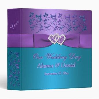 "1.5"" Purple, Teal Floral, Hearts Wedding BINDER"