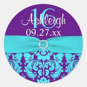 "1.5"" Purple, Turquoise Damask Sweet 16 Sticker"