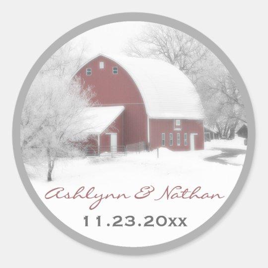 "1.5"" Red Barn in Winter Wedding Favor Sticker"