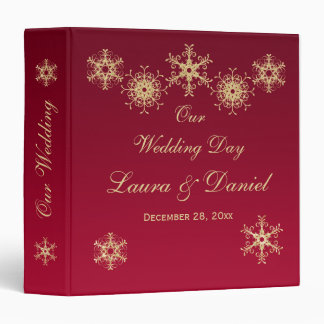 "1.5"" Red, Gold Glitter Snowflakes Wedding BINDER"