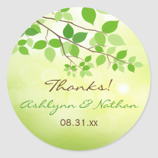 "1.5"" Round Leafy Branches Wedding Favor Sticker"