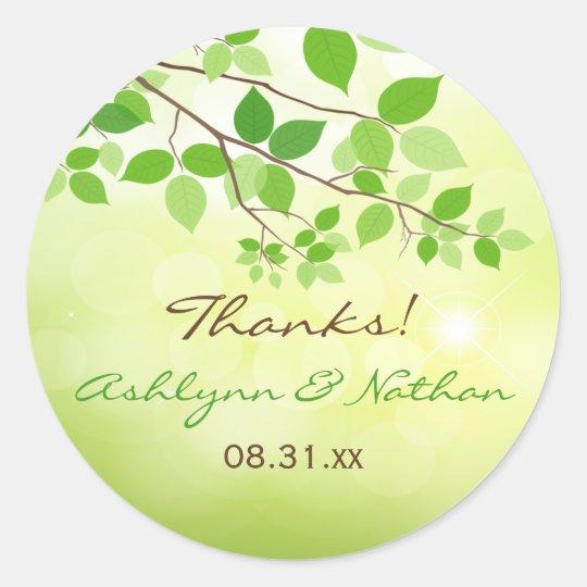 """1.5"""" Round Leafy Branches Wedding Favor Sticker"""
