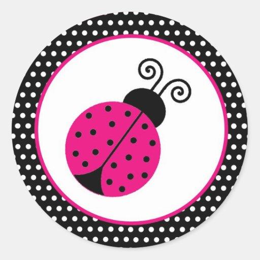 """1,5"""" señora Bug del tiempo de primavera del negro Pegatina Redonda"""