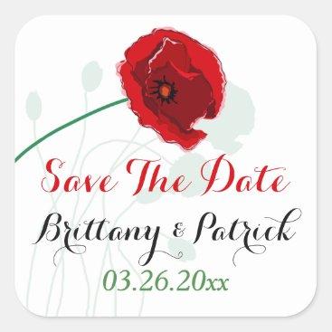 "1.5"" Wedding Sticker 2 | Red Poppy | Black, Green"
