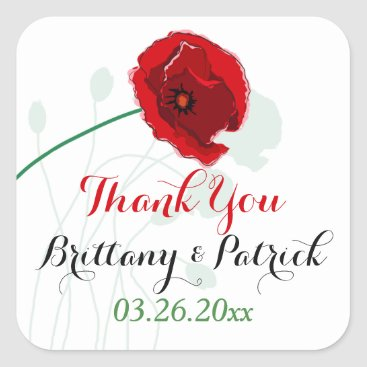 "1.5"" Wedding Sticker 3 | Red Poppy | Black, Green"